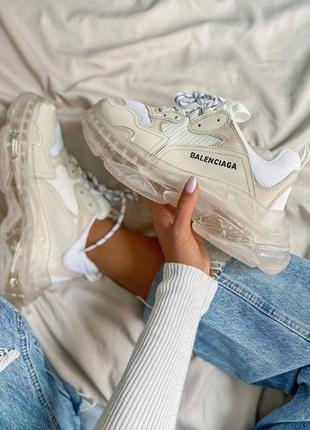 Женские, мужские кроссовки triple s beige clear sole white/beige