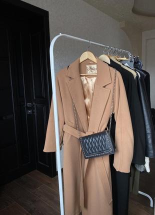 Кашемировое пальто кэмэл тёплое зима с подкладкой на запах с поясом в стиле zara