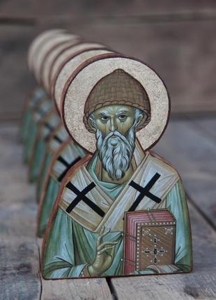 Силуетна ікона святий спиридон тримифунтський. ікони на дереві. икона на дереве