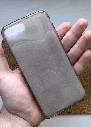 Чехол прозрачный темный на для айфон iphone 7 + плюс plus силиконовый