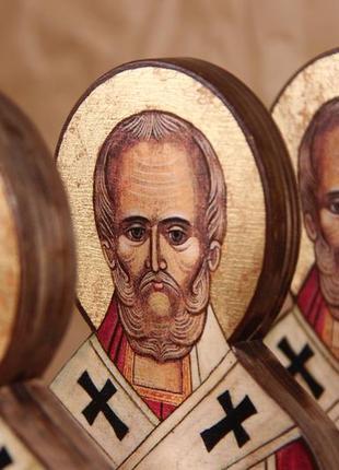 Силуетна ікона миколай чудотворець. ікони на дереві. икона на дереве