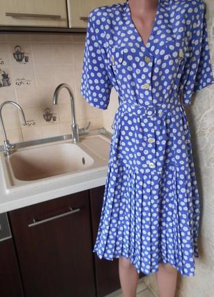 #акция 1+1=3 #eastex#винтажное шифоновое платье плиссе с поясом #большой размер  16\18#