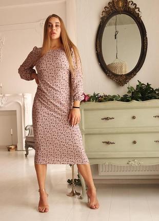 Платье футляр с цветочным узором