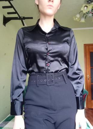 Сатиновая рубашка атласная черная