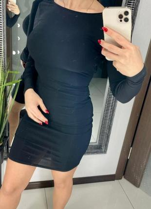👗чёрное платье мини длинный рукав/короткое чёрное платье с вырезом на спине на завязках👗