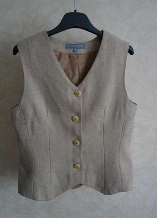Шерстяная жилетка тренд бежевая woolmark