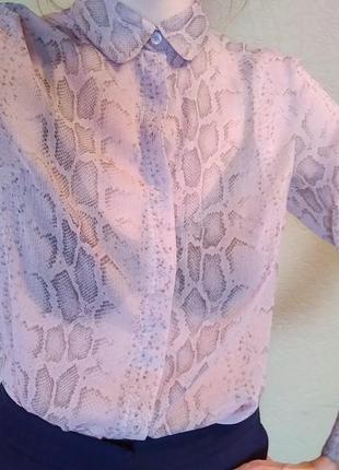 Нежнейшая розовая блуза в принт питона french connection