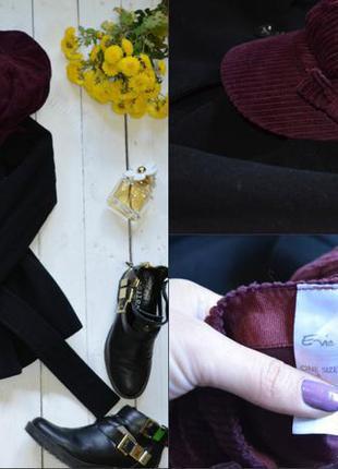 Вельветовая кепка кепи цвета бордо e-vie