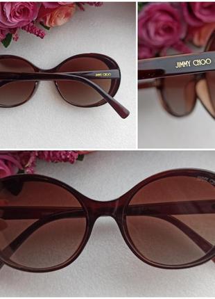 Новые трендовые солнцезащитные очки с блеском по бокам, коричневые