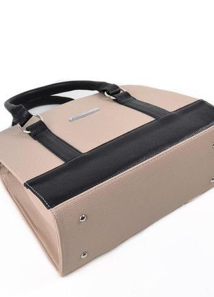 7d12b2cf3b11 Бежевая женская сумка на плечо с черными вставками, цена - 365 грн ...