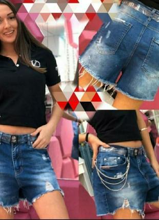 Джинсовые шорты с рваностями, люкс качество,бомбезные, размер 29-32