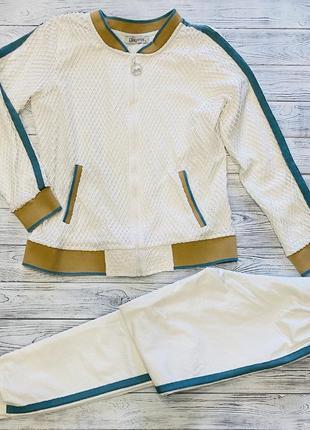 Женский белый спортивный прогулочный костюм с кофтой в крупную сетку