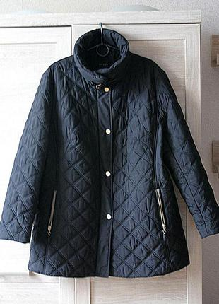 Куртка серая черная трапеция 56 размер 3xl демисезонная большая батал стеганая теплая