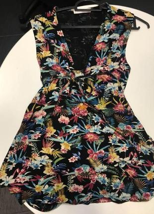 Mango натуральна квітчаста сукня на запах2 фото