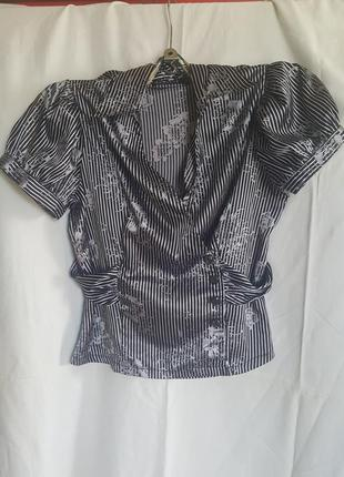 Стильная нарядная блуза рубашка с цветами на запах aritini plus польша