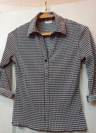 Офисная блуза гусиная лапка3 фото