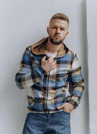 Мужская весенняя куртка - рубашка клетка