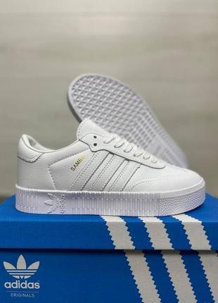Женские кеды adidas samba white топ качество / жіночі кросівки адідас білі