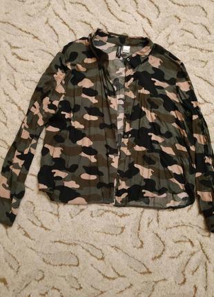 Укороченная рубашка хаки