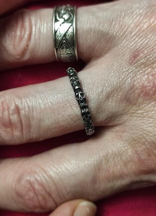 Тонкое стальное кольцо череп 3мм. медицинская сталь 316l.