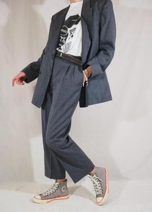 Винтажный двубортный шерстяной костюм (ретро, винтаж, брючный костюм с защипами)