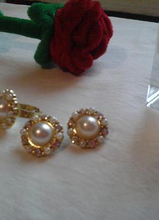 Набор серьги и кольцо, сережки под золото с жемчужиной
