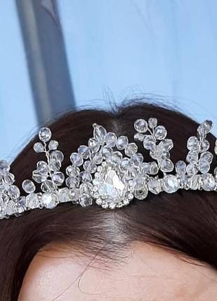 Весільна корона  з кришталю/свадебная корона диадема