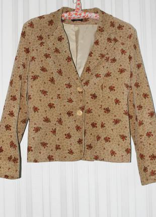 Вельветовый винтажный пиджак в цветочный принт, бренд patrick b