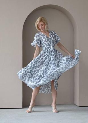 Платье на запах тропический принт aa