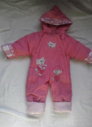 Детский ярко-розовый комбинезон со слониками