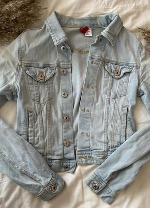 Джинсовая куртка h&m укороченная xs s