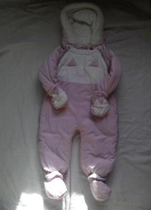 """Детский бело-розовый комбинезон """"котёнок"""""""