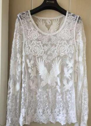 Блуза белая ажурная
