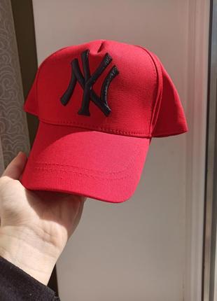 Кепка бейсболка - new york \ нью йорк красная кепка с логотипом