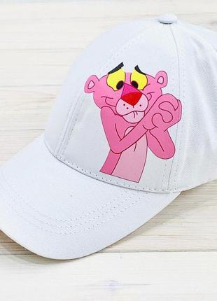 Кепка белая принт розовая пантера котон