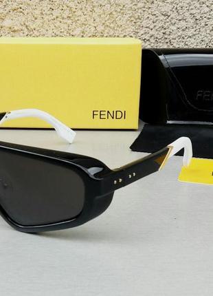 Fendi модные женские солнцезащитные очки маска черные с белым