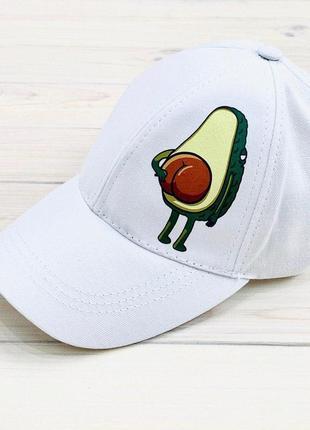 Кепка белая принт авокадо котон