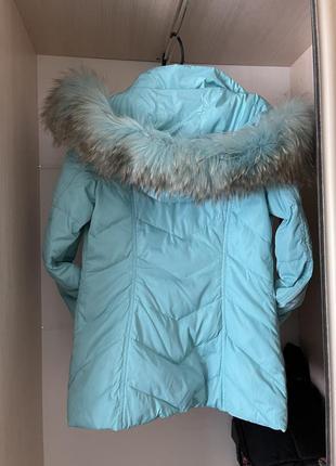 Зимняя куртка пуховик натуральный мех и пух внутри