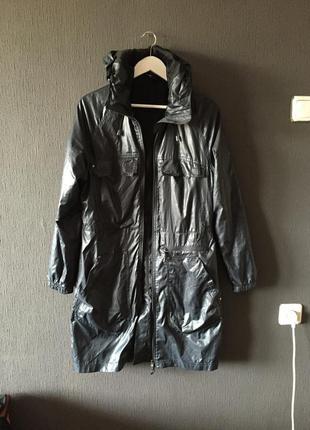 Плащ куртка пальто дождевик ветровка adidas оригинал синий с капюшоном