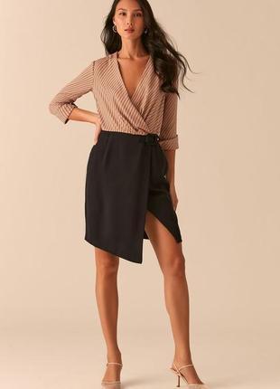 Комбинированное платье с запахом love republic 0358078546-65