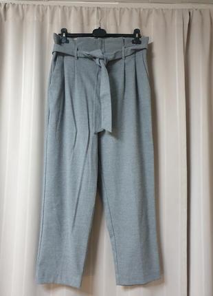 Серые теплые брюки h&m на высокой талии