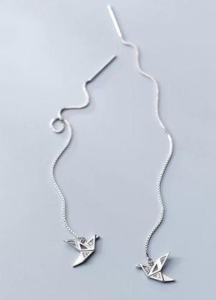 Оригинальные серьги птички серебро 925