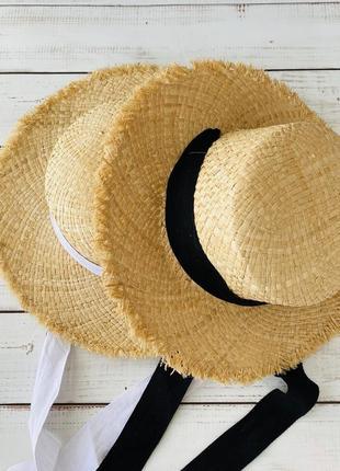 Натуральная соломенная шляпка ,шляпа с лентой 2021