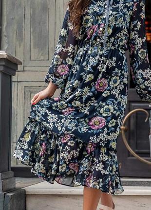 Платье миди шифон актуальный цветочный принт