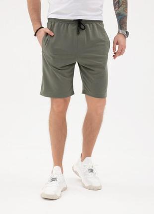Трикотажные шорты цвета хаки с тремя карманами