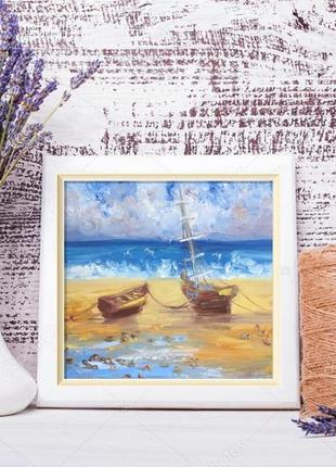 Картина лодочки у моря, холст, масло