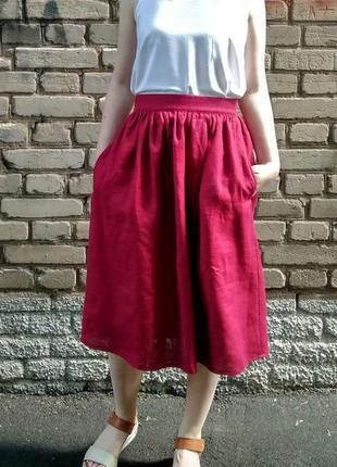Льняная миди бордовая марсала юбка лён с карманами s m l