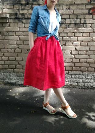 Яркая красная пышная алая юбка лён натуральный из льна р s m l