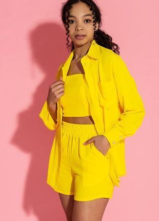 Костюм желтый шорты  брюки 4 в 1