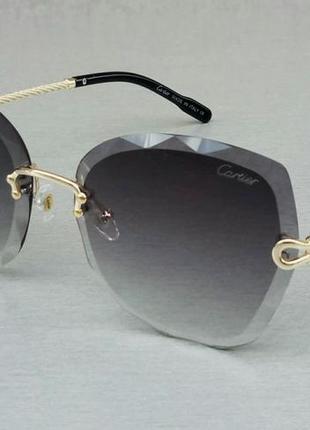 Cartier очки женские солнцезащитные темно серые безоправные с градиентом